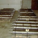 Steel mill rollers bundled on pallets